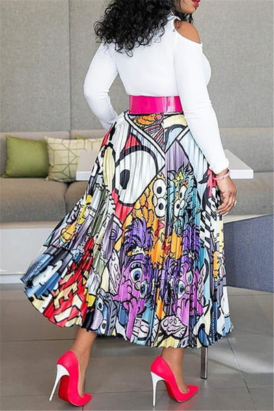 Printed Pleated Fashion Skirt