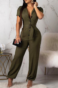 Solid Color Jumpsuit With Belt