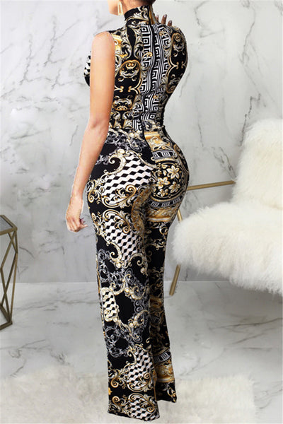Printed Wrap Sleeveless Jumpsuit With Pocket