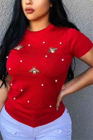 Plus Size Butterfly Pearl Studded Top