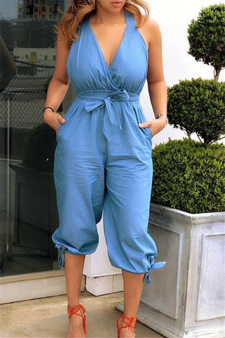 Solid Color Wrap Backless Jumpsuit