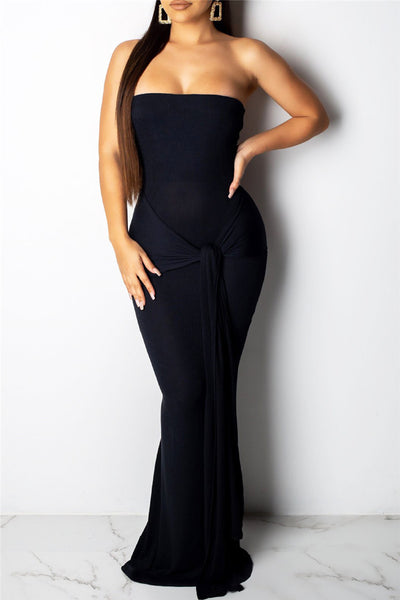 Solid Color Strapless Wrap Maxi Dress