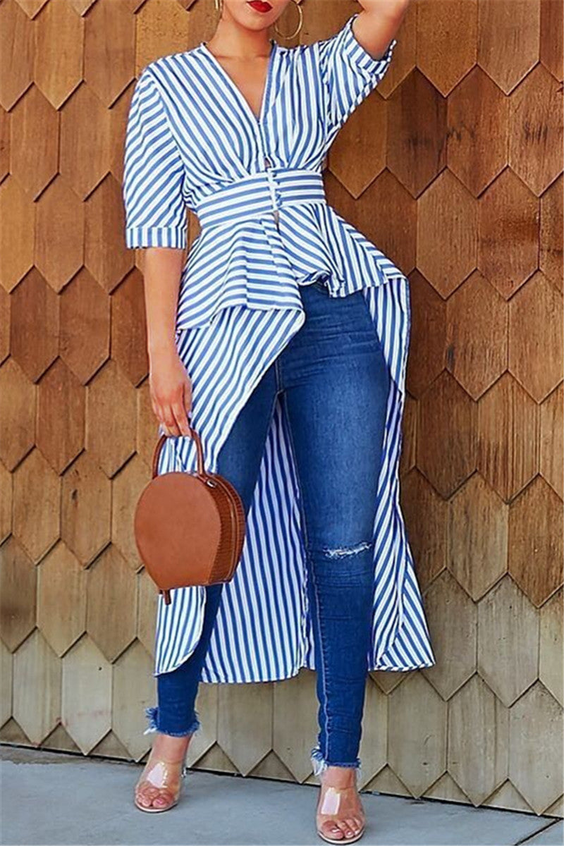 Striped Irregular Hem Shirt