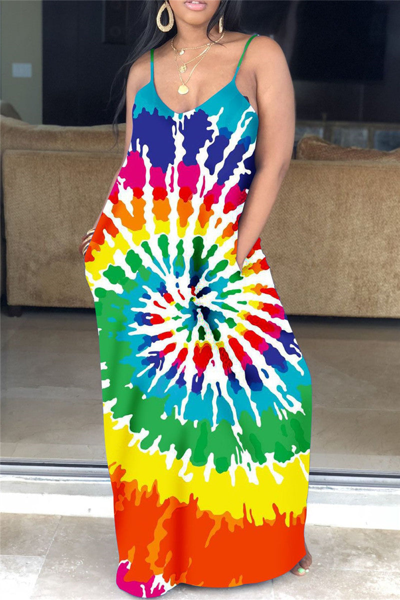 Color Changing Printed Cami Maxi Dress