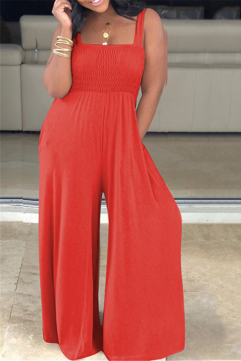 Solid Color Smocked Cami Jumpsuit