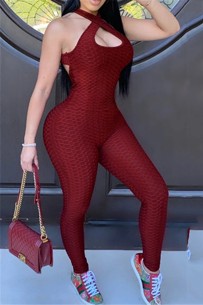 Solid Color Open Back Jumpsuit