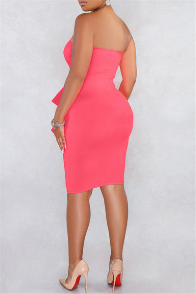 Plus Size Solid Color Strapless Dress