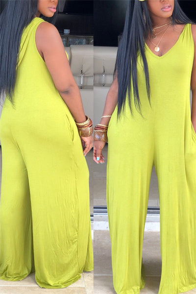 Casual Solid Color Hooded Jumpsuit