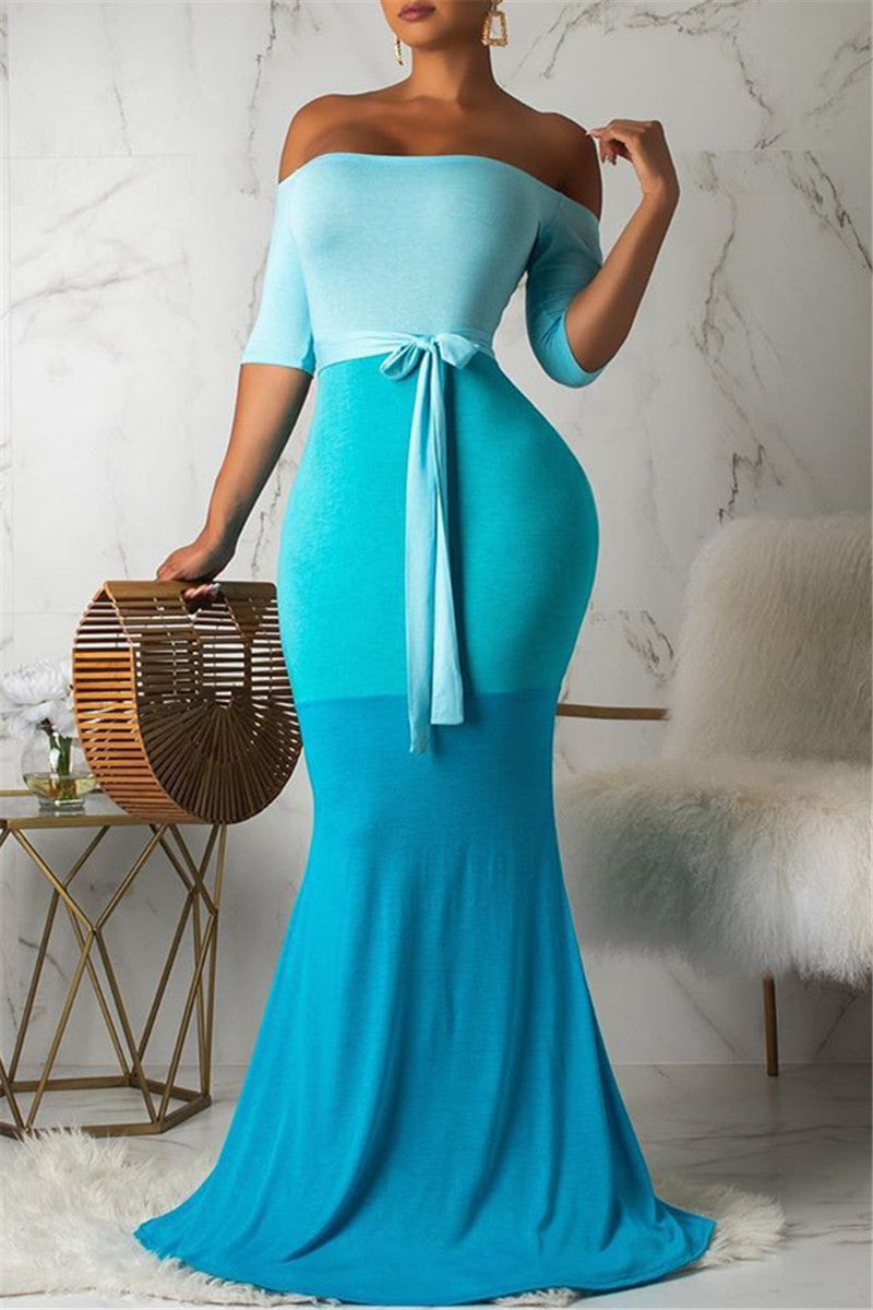Color Splicing Maxi Dress With Belt