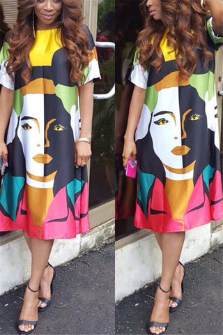 Casual Printed Midi Dress