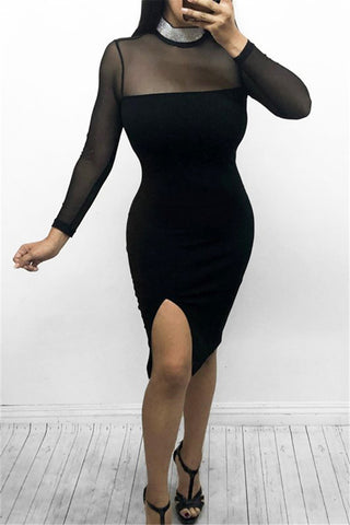 Crystal Neck Bodycon Midi Dress