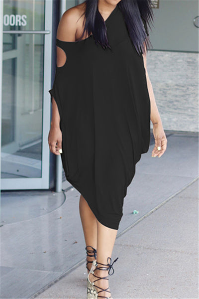 Hollow Out Sleeve Ruched Dress
