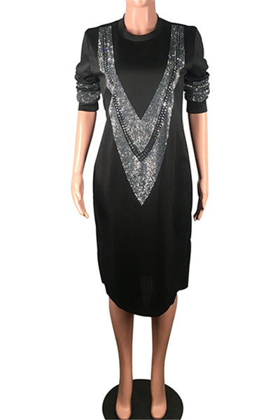 Casual Diamond Studded Dress