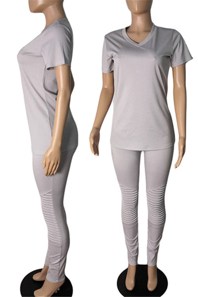 Casual Top& Ruched Pants Sets