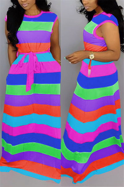 Rainbow Striped Maxi Dress With Belt