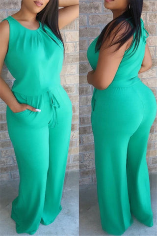 Solid Color Drawstring Jumpsuit With Pockets