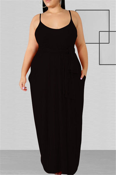 Plus Size XL-5XL Solid Color Casual Pocketed Maxi Dress with Belt
