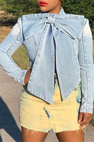 Plus Size Bowknot Denim Jacket