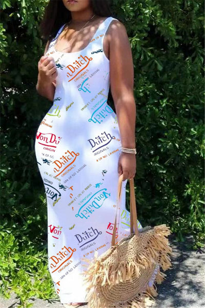 Color Letters Printed Sleeveless Casual Maxi Dress