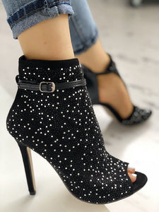 Sequins Pointed Toe Roman Heeled Boots