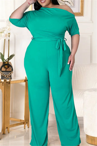 Plus Size L-4XL Solid Color Off Shoulder Wrap Jumpsuits