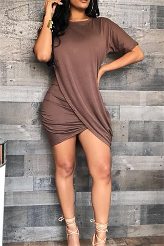 Irregular Front Mini Dress