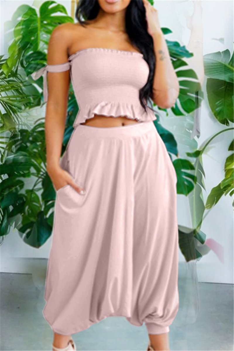 Cami Ruched Ruffle Top with Pocketed Harem Pants Sets