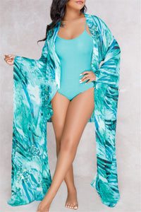 Belted Printed Swimwear&Cover Up