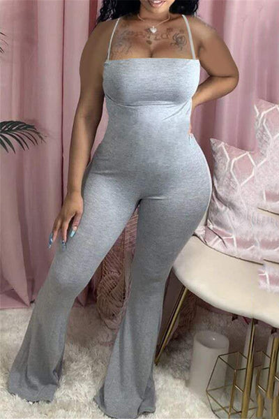 Solid Color Cami Flare Jumpsuit