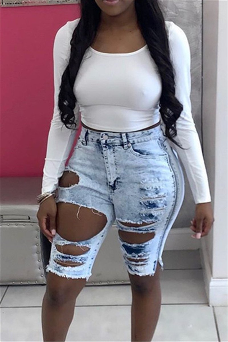High Waist Hollow Out Denim Shorts