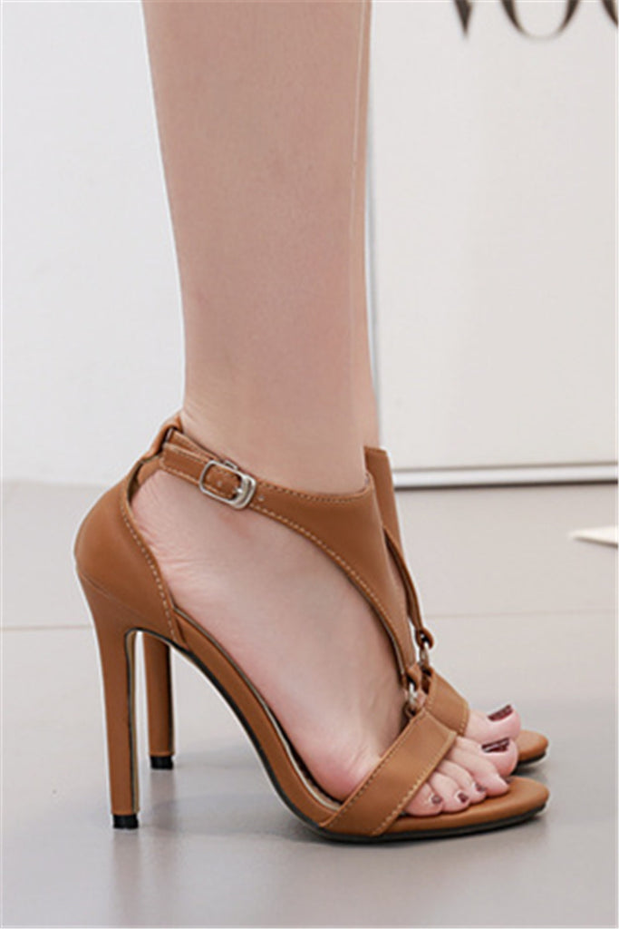 f9c352b8599 Solid Buckled T-Strap Thin Heeled Sandals