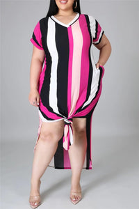 Plus Size L-5XL Striped Split Hem V-Neck Casual Maxi Dress