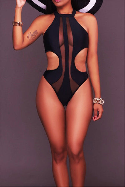 Cut Out Side Mesh Bathing Suit