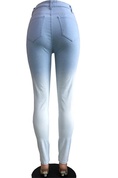 Blue-White Fade Skinny Jeans