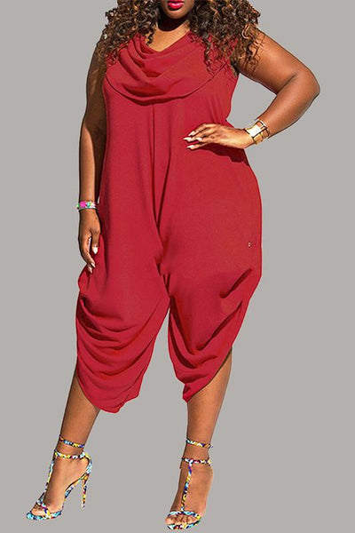 Solid Sleeveless Plus Size Jumpsuit