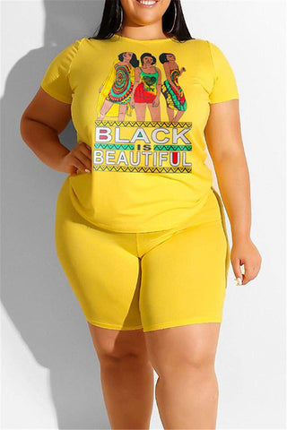 Plus Size XL-4XL Letters and Womens Printed Short Sets