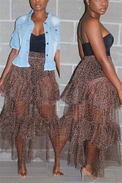 Leopard Printed Net Yarn Sheer Skirt