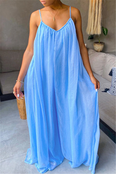 Plus Size S-3XL Chiffon Wide Leg Cami Jumpsuit