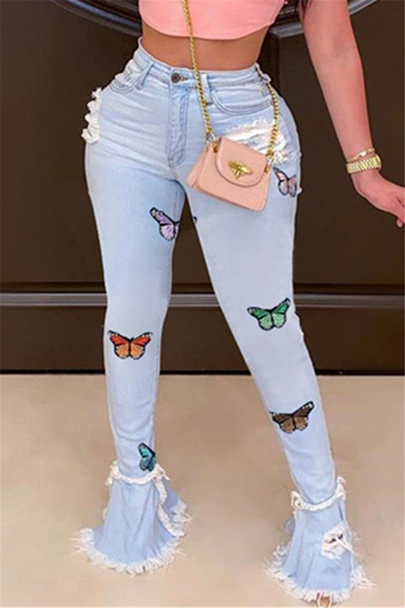 Embroidery Butterfly Flare Denim Pants