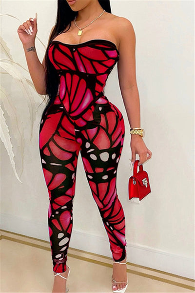 Strapless Butterfly Printed Jumpsuit