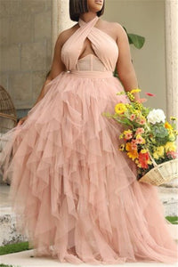 Plus Size S-3XL Halter Net Yarn Party Maxi Dress