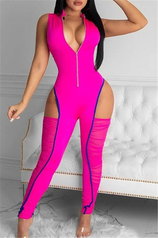 Hollow Out Ruched Leg Jumpsuit