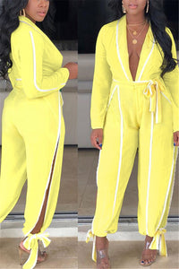 V Neck Bandage Split Jumpsuit