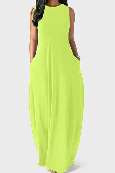 Solid Color Sleeveless Pocketed Casual Maxi Dress