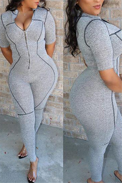 Printed Zipper Bodycon Jumpsuit