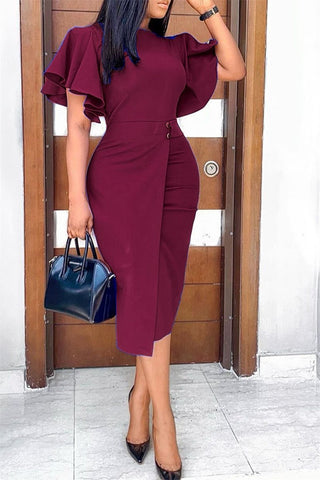 Plus Size S-3XL Ruffle Sleeve Split Midi Dress