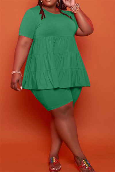 Plus Size XL-5XL Solid Color Ruched Top with Shorts Sets