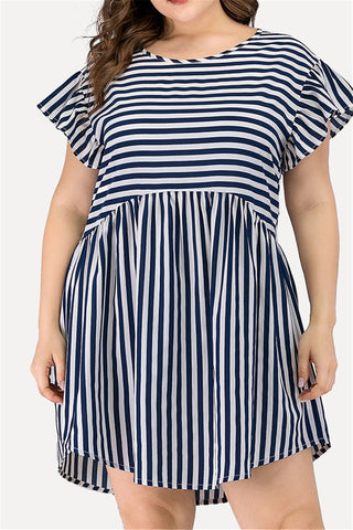 Plus Size L-3XL Striped Ruffle Casual Mini Dress