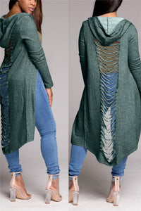 Distressed Back Maxi Coat