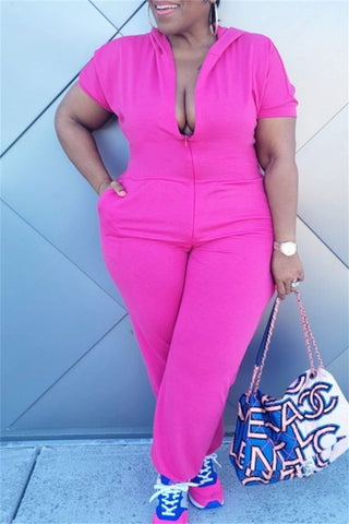 Plus Size XL-5XL Solid Color Hooded Zipper jumpsuits